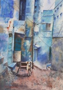 Cityscape Watercolor Art Painting title 'Lockdown in Jodhpur' by artist Mrutyunjaya Dash