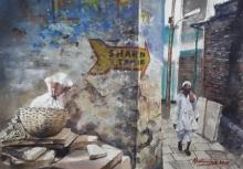 Cityscape Watercolor Art Painting title 'Down the lane' by artist Mrutyunjaya Dash