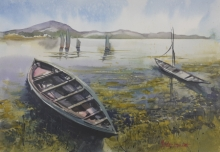 Landscape Watercolor Art Painting title 'Fishing boats in Chilika, Odisha' by artist Mrutyunjaya Dash