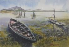 Landscape Watercolor Art Painting title Fishing boats in Chilika, Odisha by artist Mrutyunjaya Dash