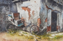 Still-life Watercolor Art Painting title 'Forgotten corner' by artist Mrutyunjaya Dash