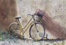 Transportation Watercolor Art Painting title Forgotten - BiCycle and old wall by artist Mrutyunjaya Dash