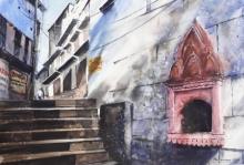 Cityscape Watercolor Art Painting title Lanes of Banaras by artist Mrutyunjaya Dash
