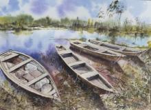 Landscape Watercolor Art Painting title Chilika fishing boats by artist Mrutyunjaya Dash