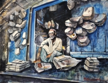 Lifestyle Watercolor Art Painting title 'RECYCLE' by artist Mrutyunjaya Dash