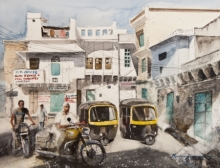 Cityscape Watercolor Art Painting title Streets Of Udaipur by artist Mrutyunjaya Dash