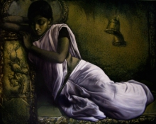 Figurative Acrylic-oil Art Painting title 'Untitled 9' by artist Arya Chowdhury