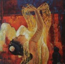 Figurative Oil Art Painting title 'Bharatanatyam 4' by artist Ashis Mondal