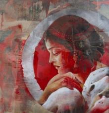 Figurative Acrylic Art Painting title 'Binadini' by artist Ashis Mondal