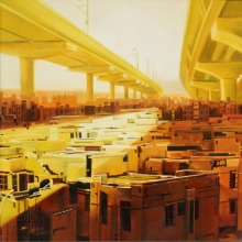 Cityscape Oil Art Painting title Lockdown by artist Bhartti Verma