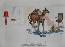 contemporary Mixed-media Art Painting title Mobile Mind B by artist Nandkishor Saindane