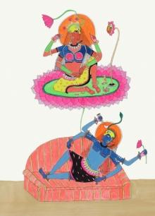 Figurative Acrylic Art Painting title Beauty Of The Three World by artist Priti Singh