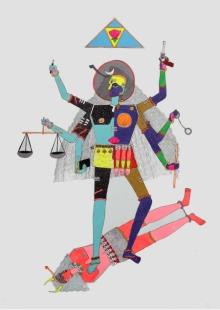 Figurative Mixed-media Art Painting title Divine Judgement by artist Priti Singh