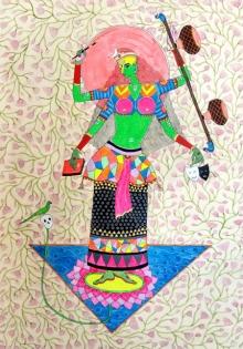 Figurative Mixed-media Art Painting title Matangi by artist Priti Singh