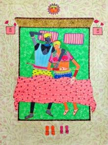 Figurative Mixed-media Art Painting title 'Sweet Dreams' by artist Priti Singh