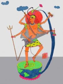 Figurative Mixed-media Art Painting title Tandav On by artist Priti Singh
