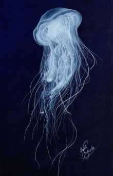 Animals Acrylic Art Painting title Sea Medusa by artist Ayush Gupta