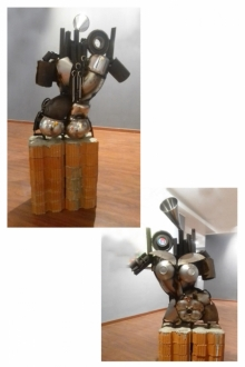 Mixedmedia Sculpture titled 'History Of Pillars' by artist Atreyee Bhattacharjee