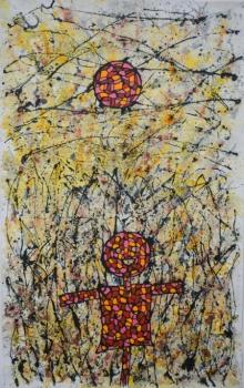 contemporary Mixed-media Art Painting title Security by artist Bibekananda Santra