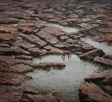 Cityscape Acrylic Art Painting title Gokak by artist Mangesh Shinde