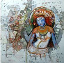 Religious Acrylic Art Painting title Devi by artist Rajesh Kumar Singh