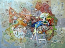 Abstract Mixed-media Art Painting title Pray To God by artist Rajesh Kumar Singh