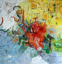 Abstract Mixed-media Art Painting title Spontaneous by artist Rajesh Kumar Singh
