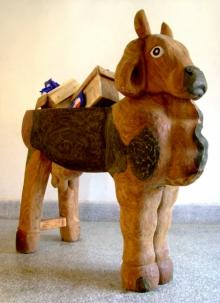 Sheesham Wood Sculpture titled 'Choko Mother' by artist Tarun Maity