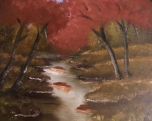 Landscape Oil Art Painting title 'Dense Forest' by artist Anu Dhimaan