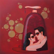 Figurative Acrylic Art Painting title 'Socio Economic Love 1' by artist Praveen Nair