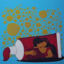 Figurative Acrylic Art Painting title 'Socio Economic Love 3' by artist Praveen Nair