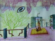 contemporary Mixed-media Art Painting title Sarvangasana by artist Satya Vijay Singh