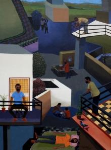 Figurative Acrylic Art Painting title Life In The Lockdown by artist Neeraj Khandka