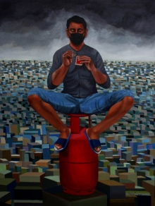contemporary Acrylic Art Painting title 'Pandemic Year 2020' by artist Neeraj Khandka