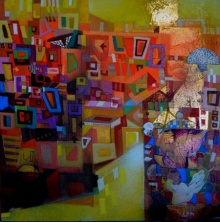 Cityscape 4 | Painting by artist Madan Lal | acrylic | Canvas