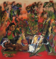 Figurative Acrylic Art Painting title Farmer Couple In Chilli Farm by artist Anjani Reddy