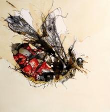 Animals Acrylic Art Painting title 'Honey Bee' by artist Sonam Sikarwar