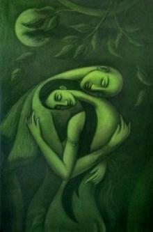 Figurative Mixed-media Art Painting title The Dream Lover by artist Uttam Bhattacharya