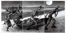 Figurative Charcoal Art Painting title Tiny Dream by artist Uttam Bhattacharya