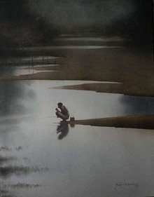 Figurative Watercolor Art Painting title First Morning. Size - 18x22. Water Color by artist Sudipta Karmakar