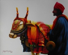 Figurative Watercolor Art Painting title Hydrabad Festivle - 1. Size - 18x 23. Wa by artist Sudipta Karmakar
