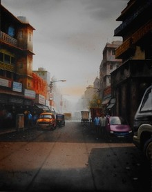 Cityscape Watercolor Art Painting title 'Kolkata11.size - 18x 23. Medium Water Co' by artist Sudipta Karmakar