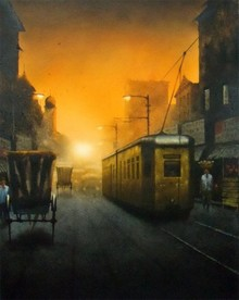 Cityscape Watercolor Art Painting title 'Kolkata 6. Size - 22x27. Water Colour On' by artist Sudipta Karmakar