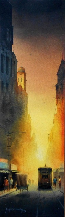 Landscape Watercolor Art Painting title Kolkata Series 40 Size - 27h X 8w. Mediu by artist Sudipta Karmakar