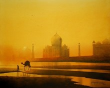 Realistic Watercolor Art Painting title 'Title - Camel With Taj . Medium Water Co' by artist Sudipta Karmakar