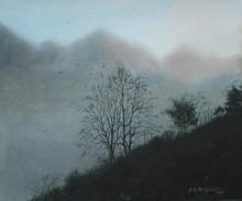 Landscape Watercolor Art Painting title Title - Hillscape -3. Size Medium-water by artist Sudipta Karmakar
