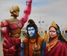 Figurative Watercolor Art Painting title Title - Who Are Listening Futurebahuroop by artist Sudipta Karmakar