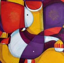 Religious Mixed-media Art Painting title 'Ganesha' by artist Satyendra Rane