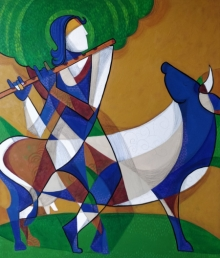 Religious Mixed-media Art Painting title 'Kanha' by artist Satyendra Rane