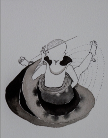 contemporary Ink Art Drawing title 'Untitled 8' by artist Hema Mhatre